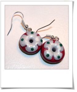 Boucles d'oreilles donuts de Noël